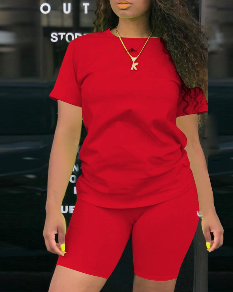Solid Short Sleeve Sporty Top & Short Set фото