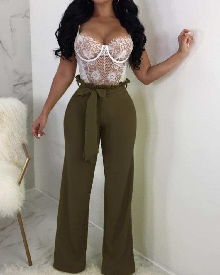 ivrose / Pantalones de pierna ancha con cinturón y volantes sólidos