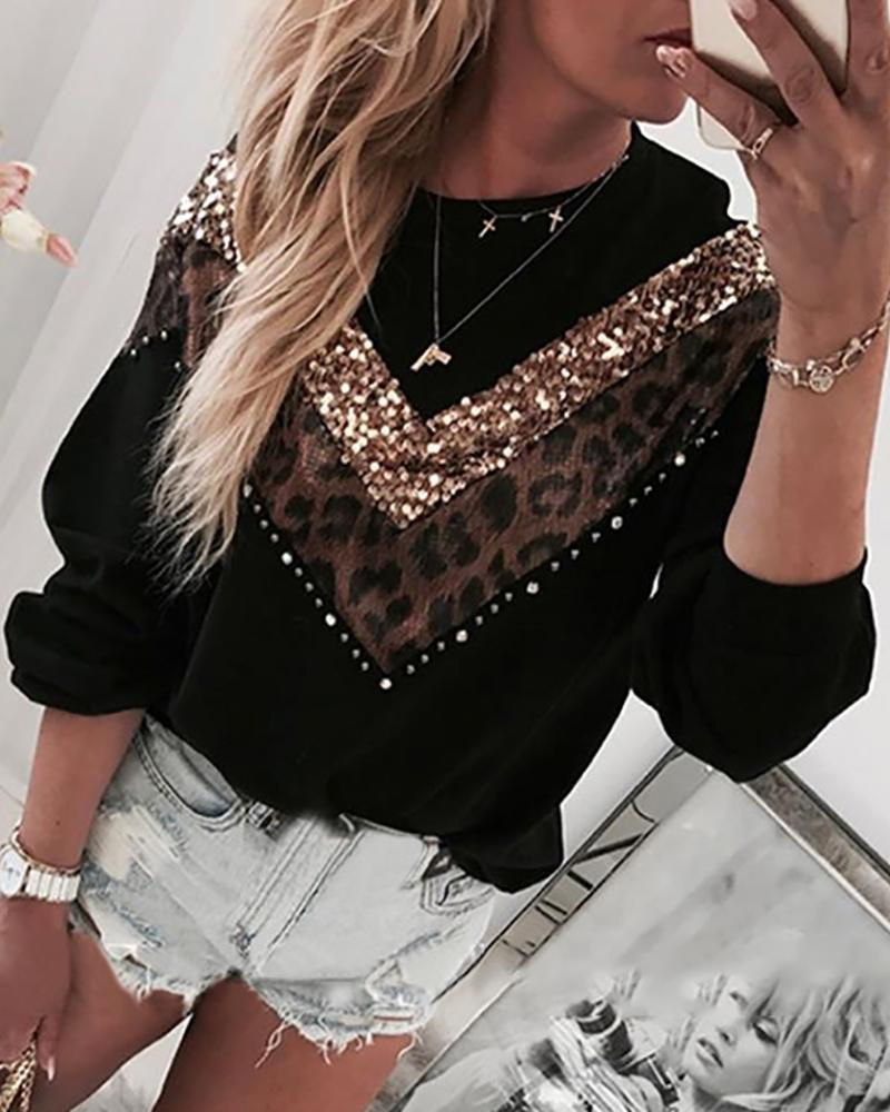 Leopard Sequins Colorblock Insert Casual Blouse фото