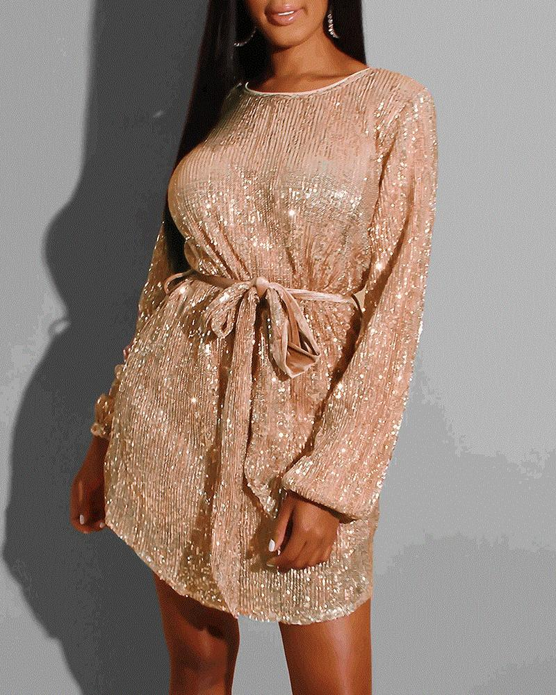 Glitter Round Neck Long Sleeve Sequins Dress фото
