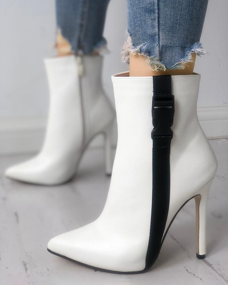Tape Design Pointed Toe Thin Heeled Boots