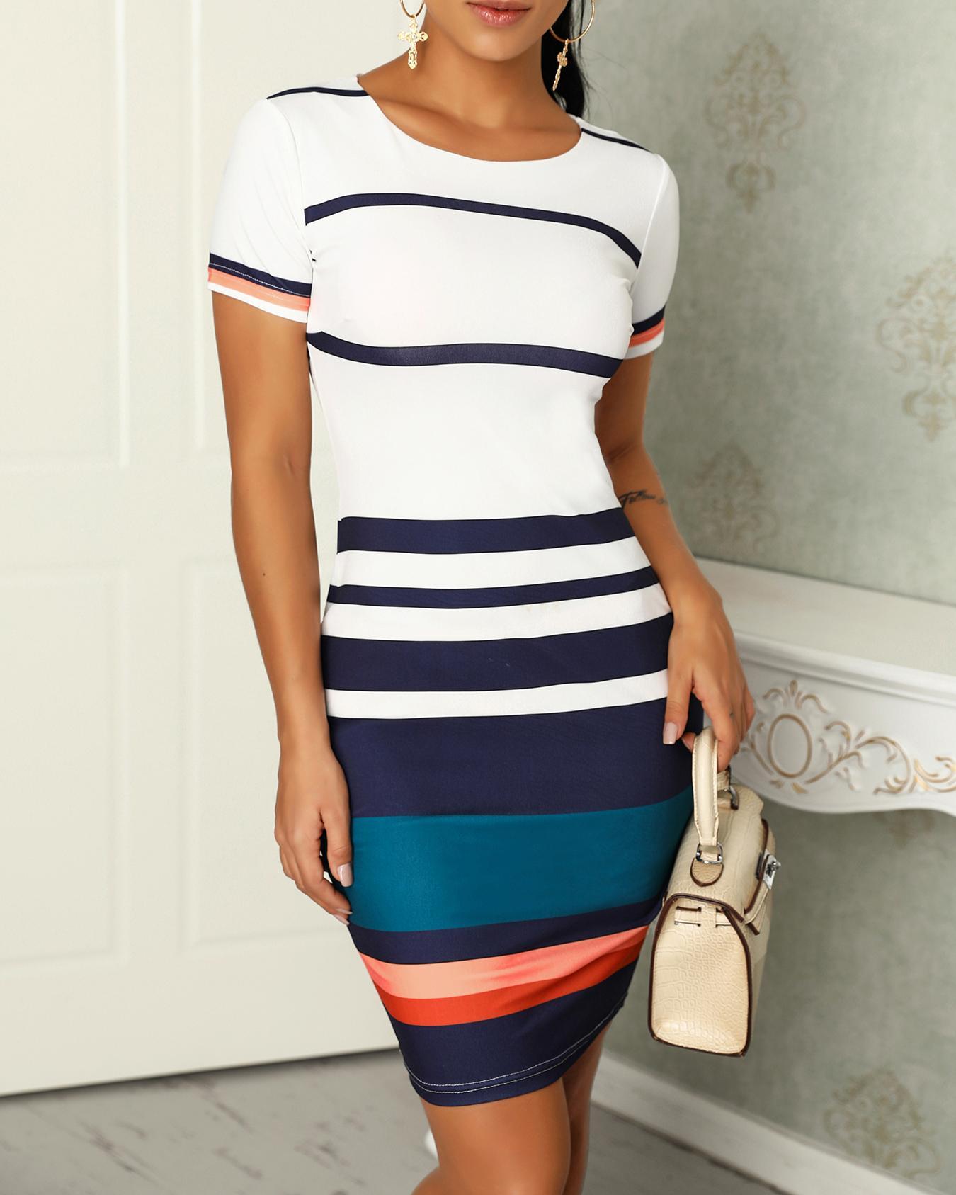 Contrast Color Splicing Striped Casual Dress фото