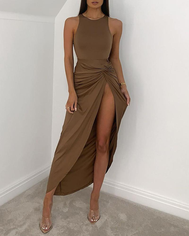 chicme / High Slit Ruched Solid Maxi Dress