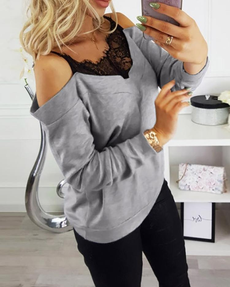 Cold Shoulder Lace Insert Sweatshirt