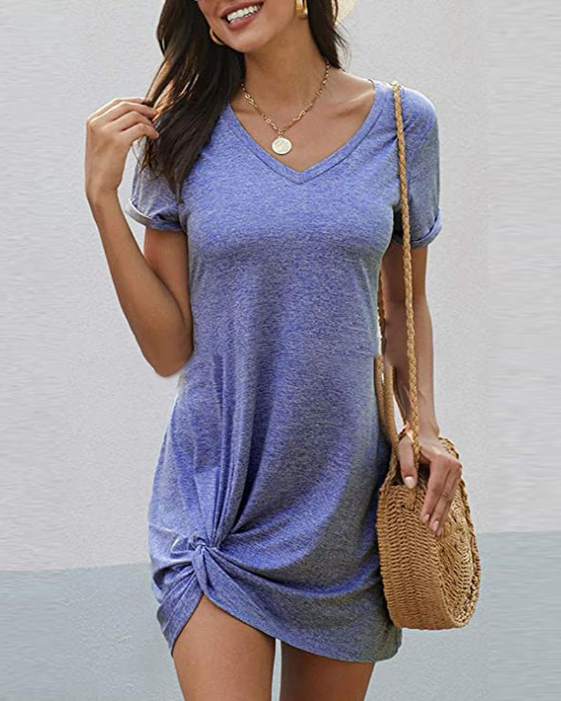 Solid Twisted Short Sleeve Casual Dress фото