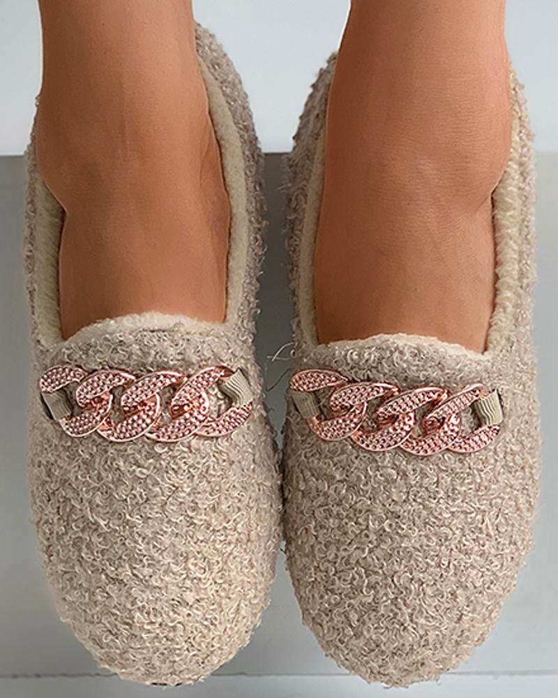 Chain Pattern Decor Fluffy Shoes