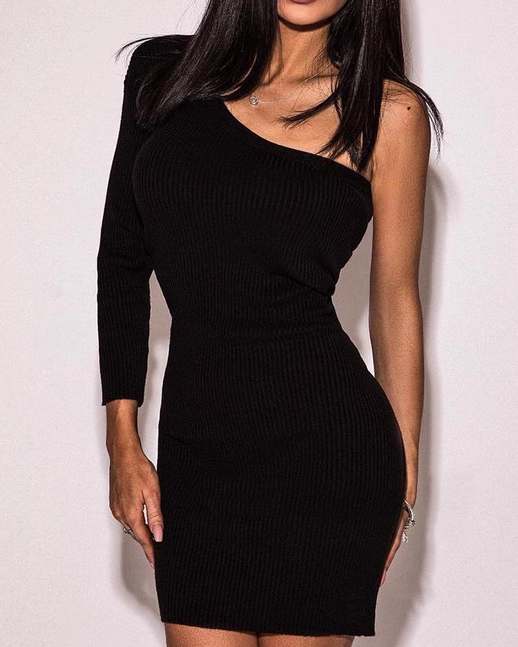 One Sleeve Bodycon Dress, Black