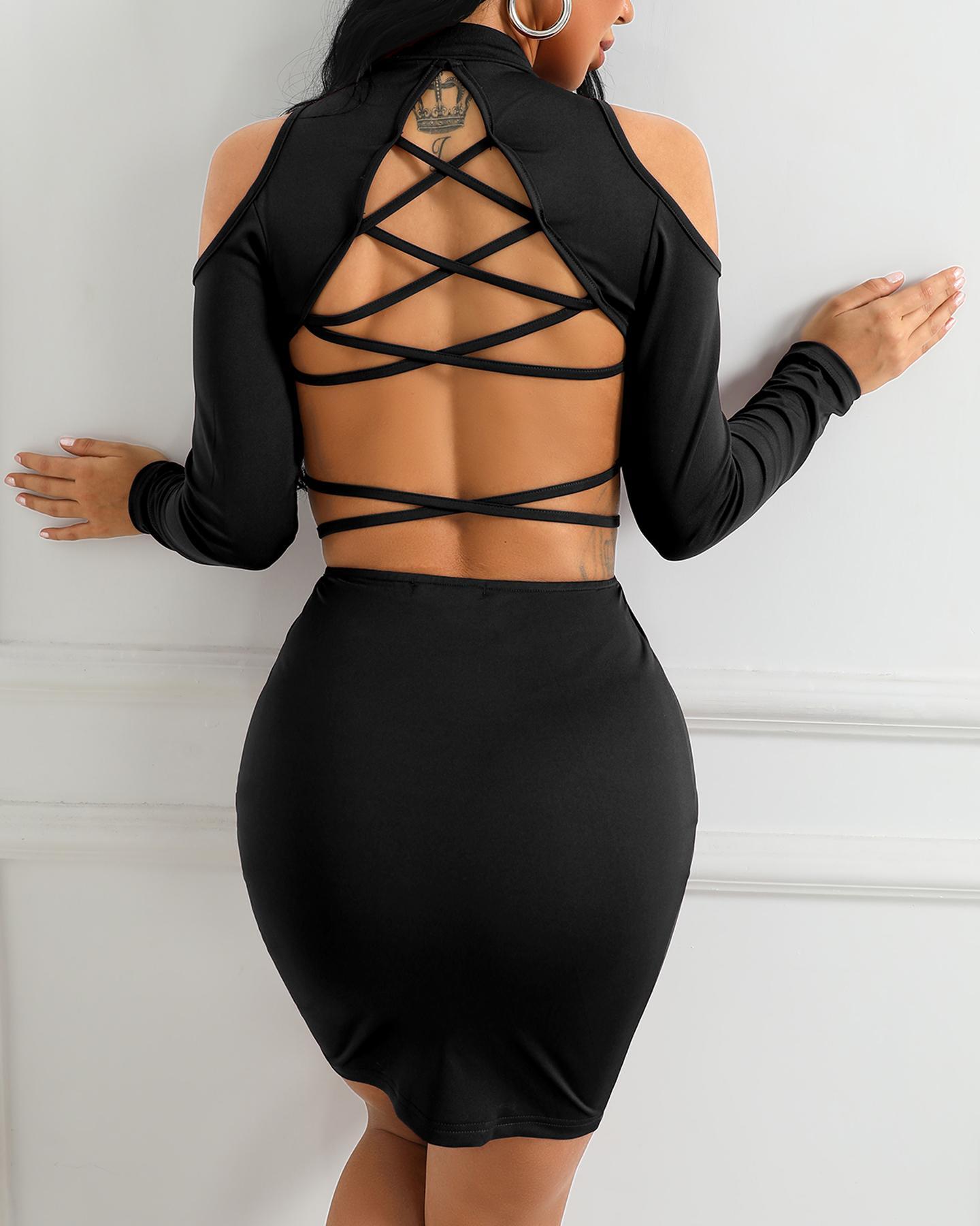Lace-Up Back Zipper Design Bodycon Dress