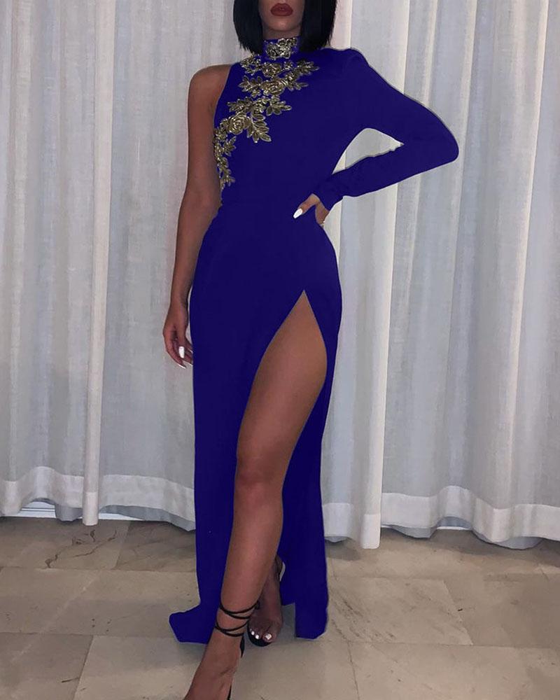 boutiquefeel / Vestido de festa de um ombro com fenda alta