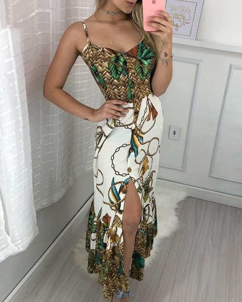 Spaghetti Strap Tropical Print Slit Dress, Green