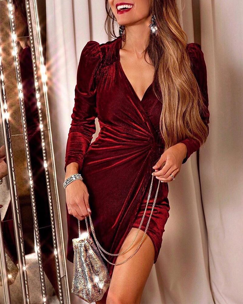V Neck Wrap Ruched Dress фото