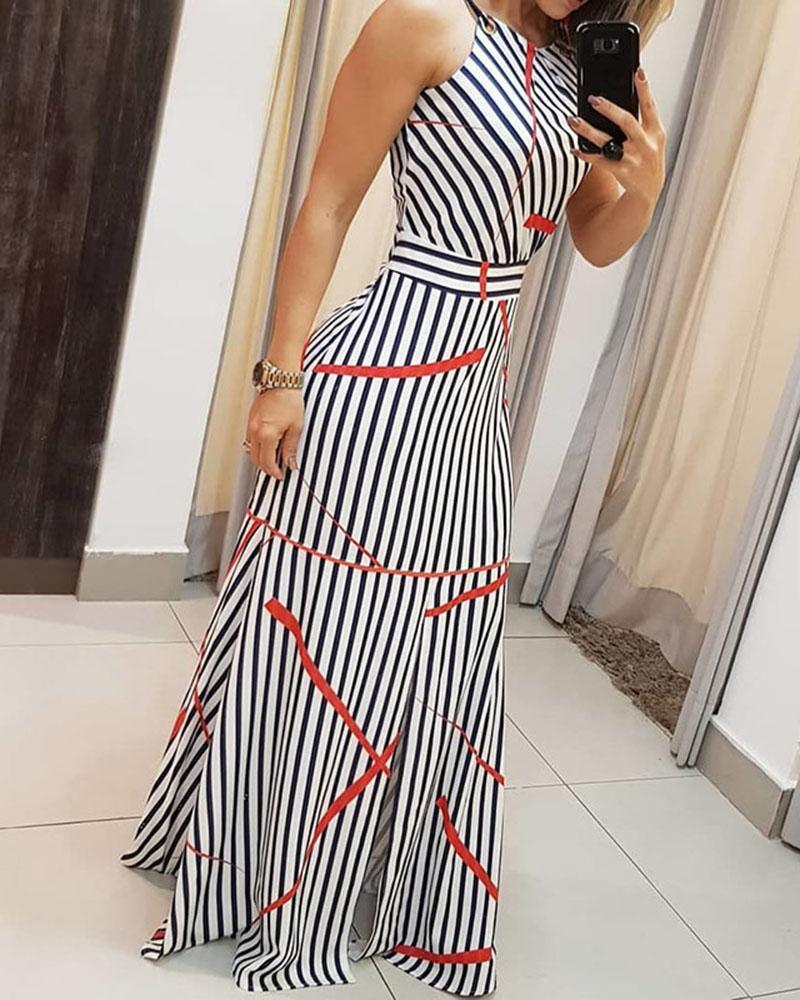Striped Sleeveless Maxi Dress, Blue