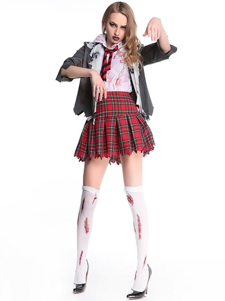 Deluxe High School Girl Zombie Bloody Uniform Halloween Costume Set