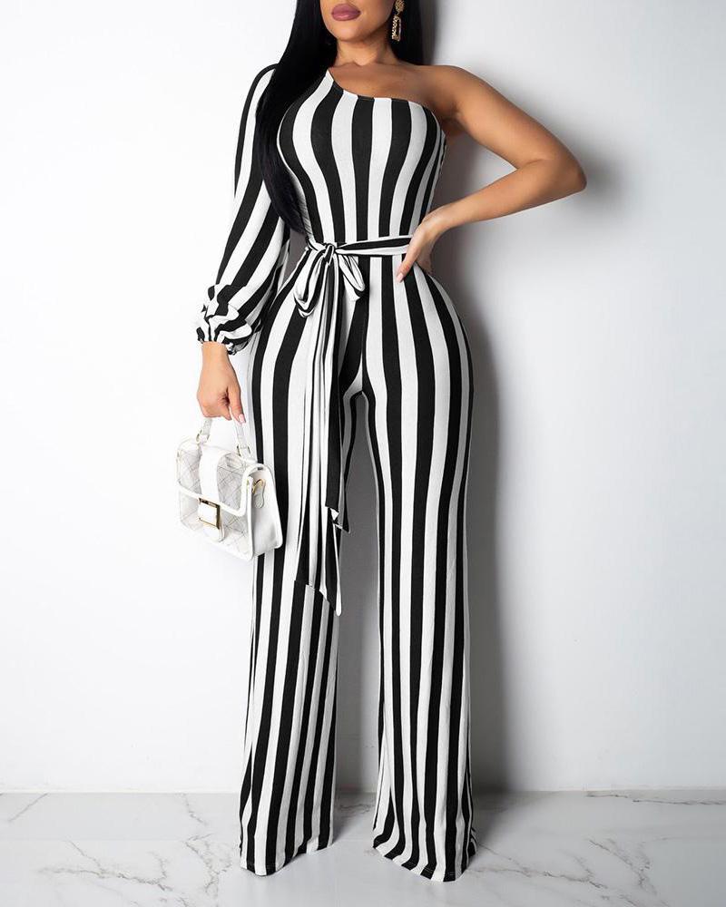 One Shoulder Striped Bleted Jumpsuit фото