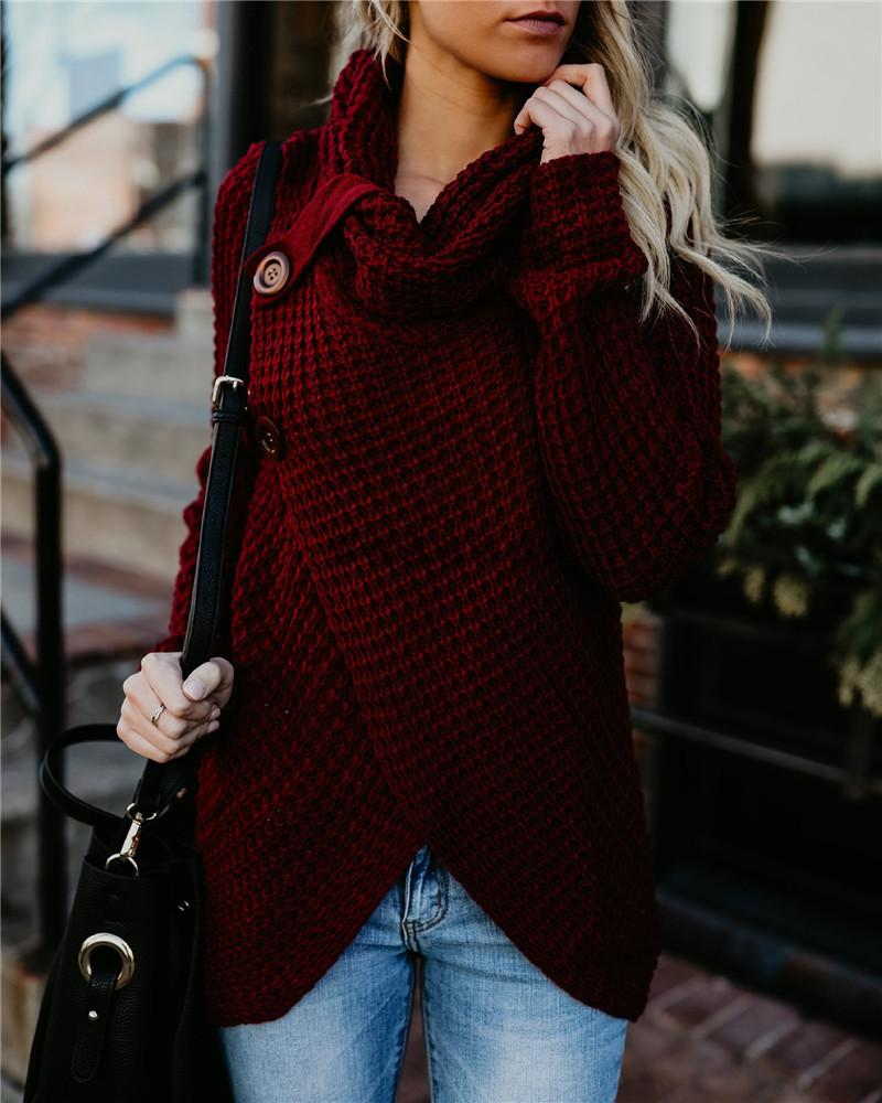 Solid Long Sleeve Buttoned Casual Sweater фото