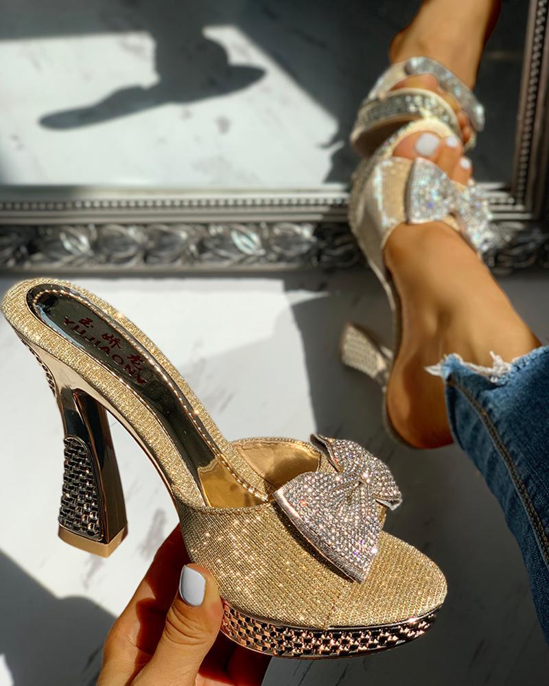 joyshoetique / Studded Bowknot Platform Chunky Heeled Sandals