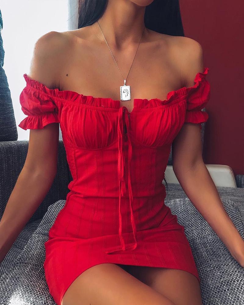 boutiquefeel / Fora do ombro Smocked vestido Bodycon