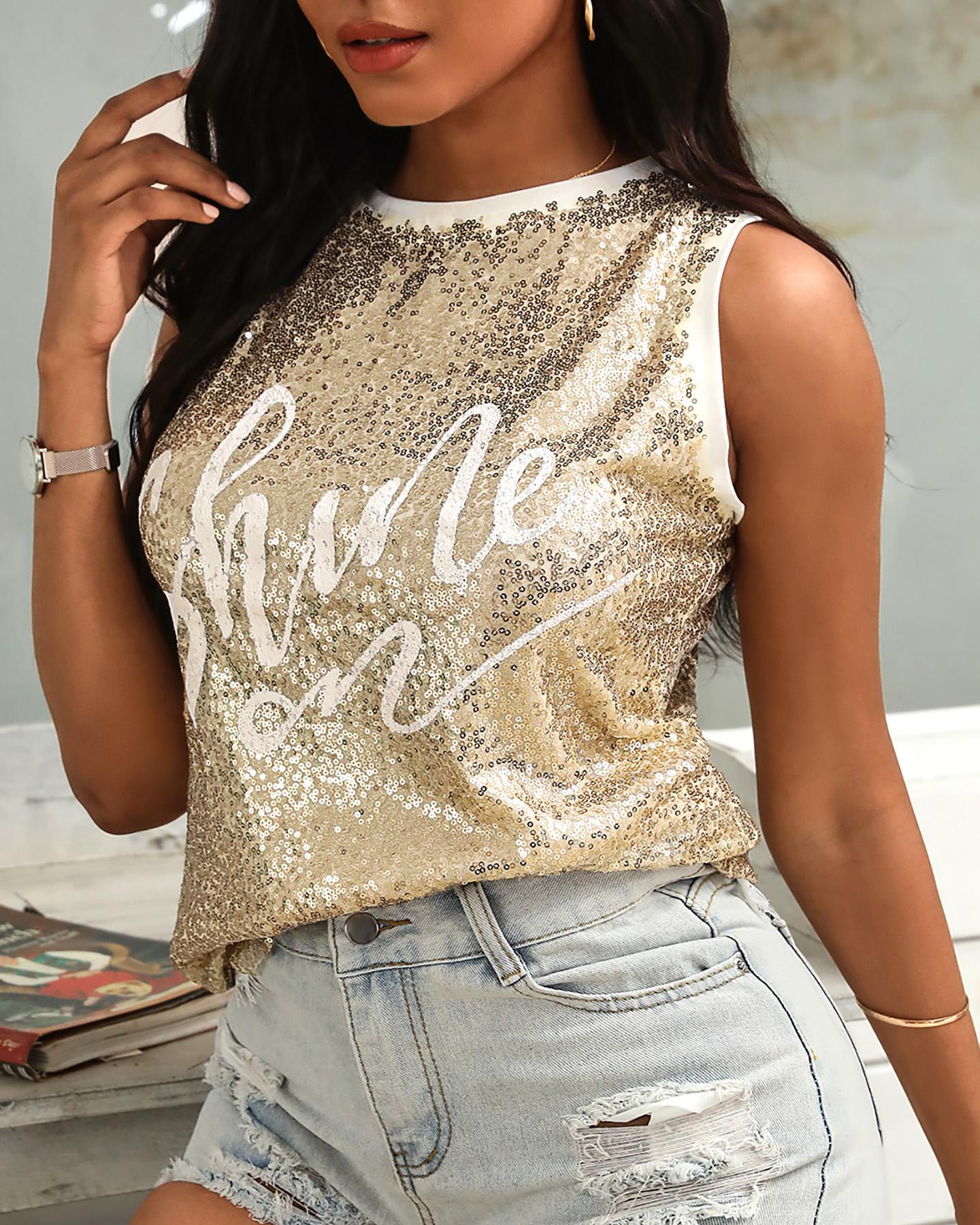 Letter Pattern Sequins Contrast Binding Top фото