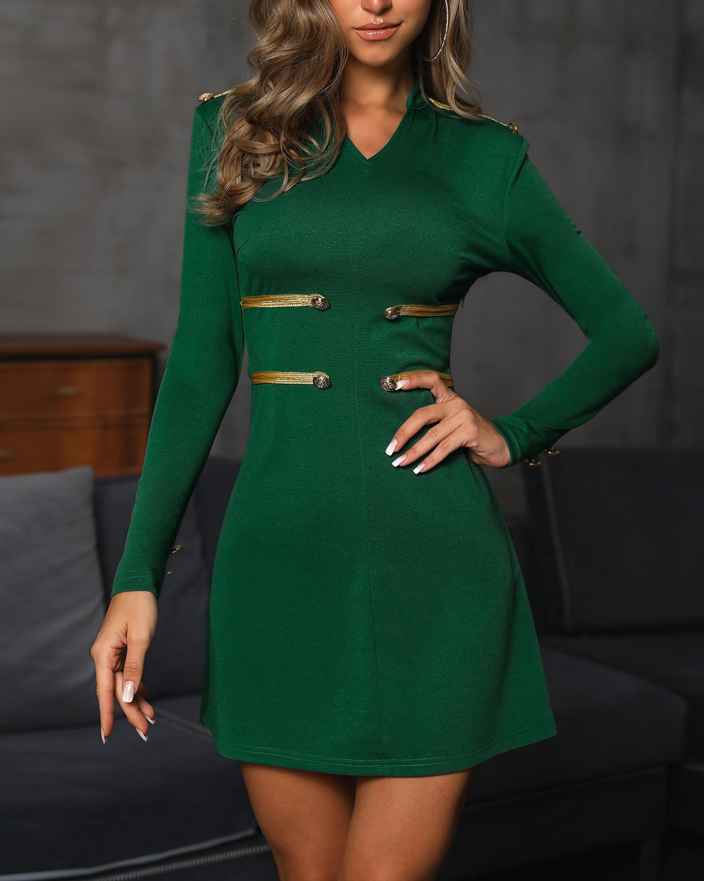 Stand Neck Button Design Long Sleeve Dress