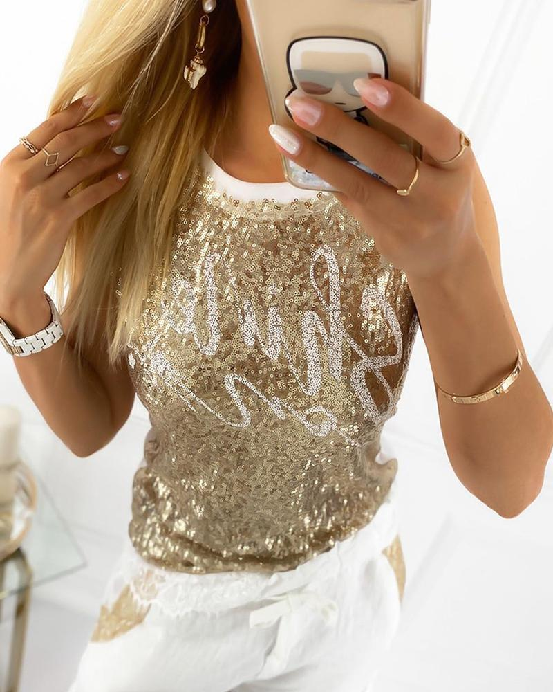 chicme / Letter Pattern Sequins Contrast Binding Top