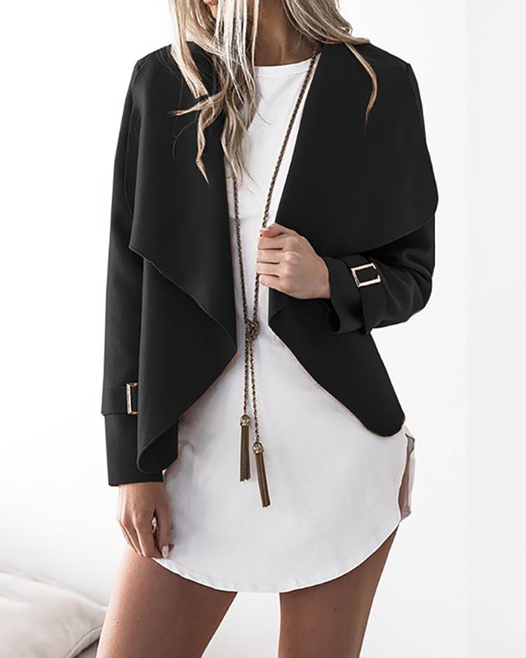 Купить со скидкой Stylish Solid Casual Cardigan Coat - Black