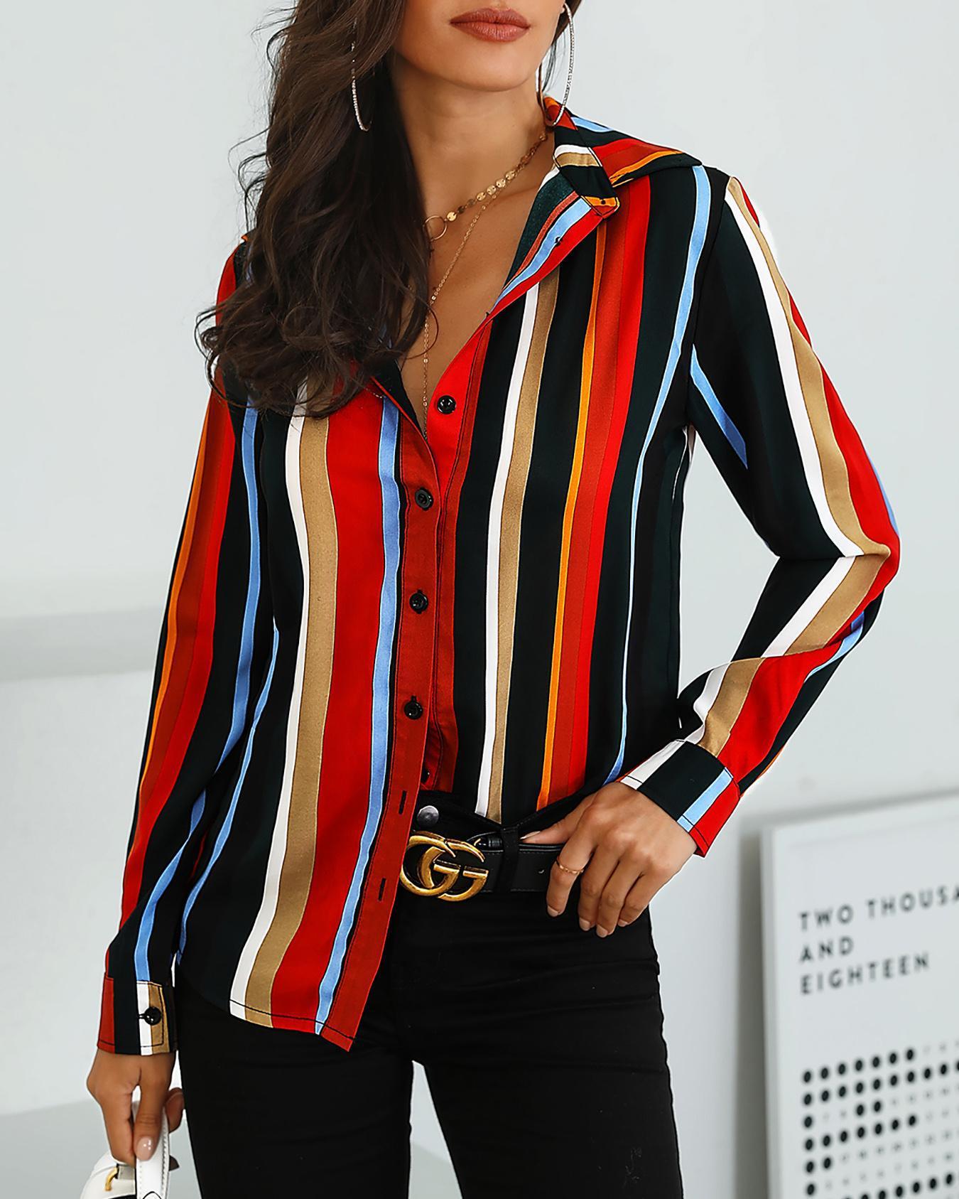 Colorful Striped Button Through Casual Shirt, Multicolor