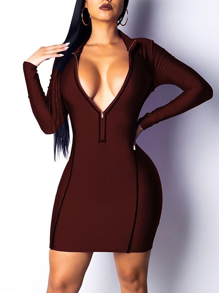 Zip Up Piped Trim Bodycon Dress