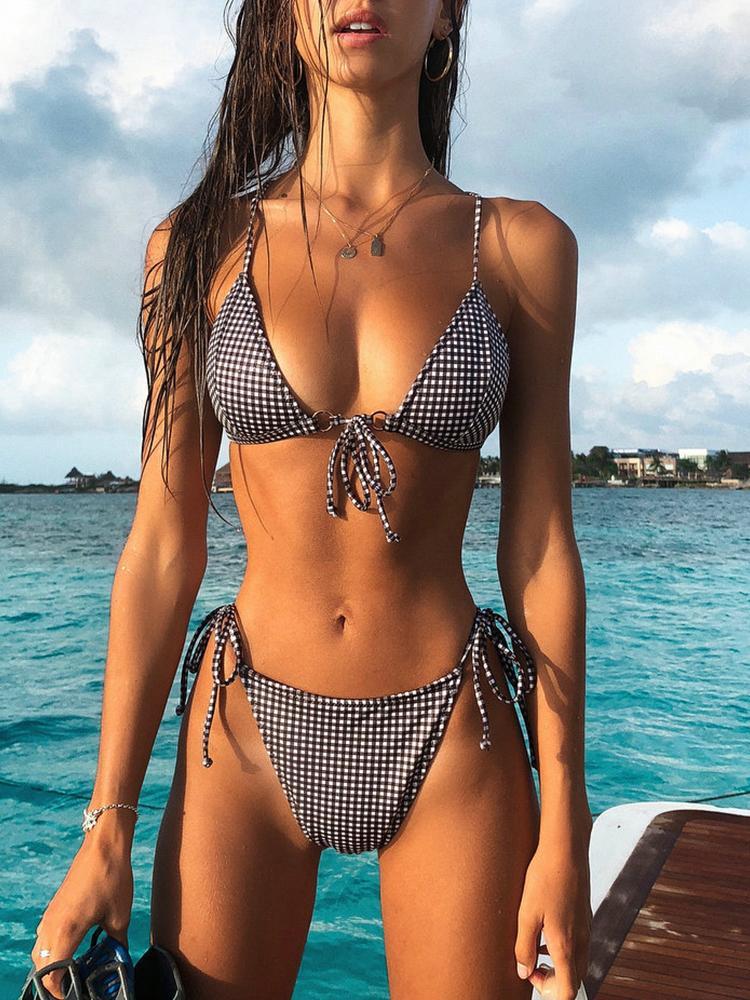 Sexy Plaid Print Halter Strappy Bikini Set