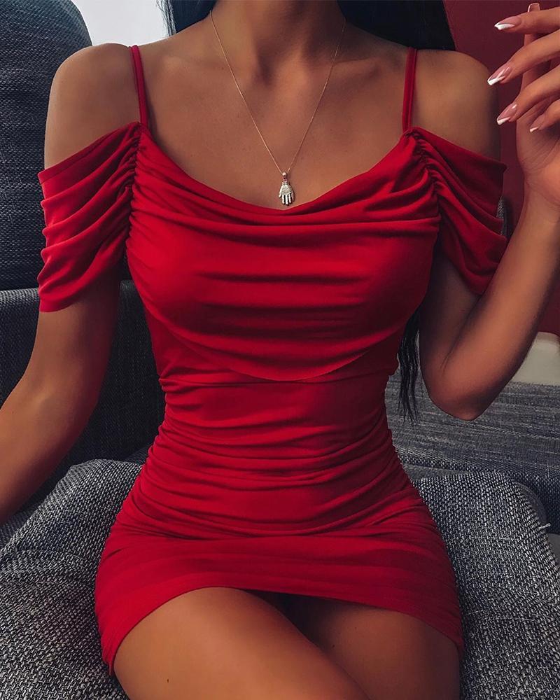 Cold Shoulder Bodycon Mini Cami Dress, Red