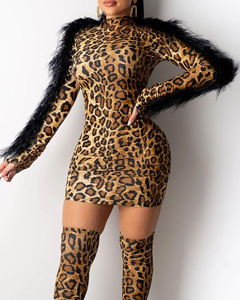 ivrose / Mock Neck Feather Insert manga comprida Leopard Bodycon Dress