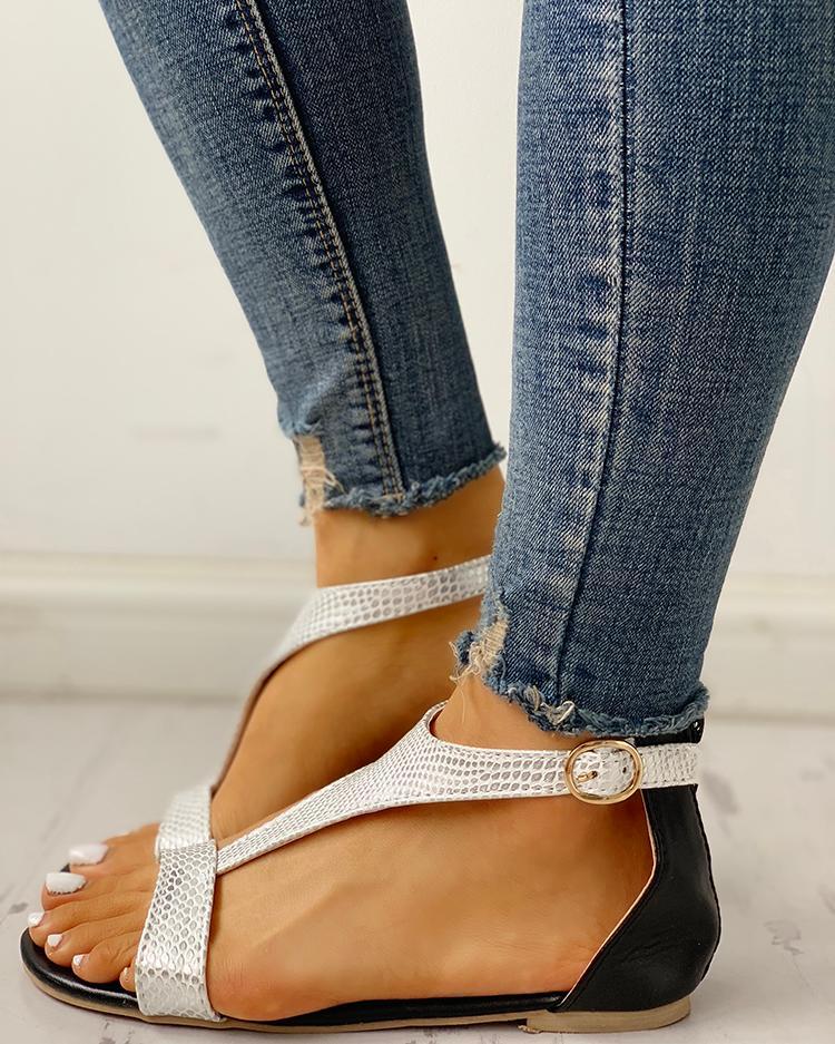 Open Toe T-Strap Design Flat Sandals фото