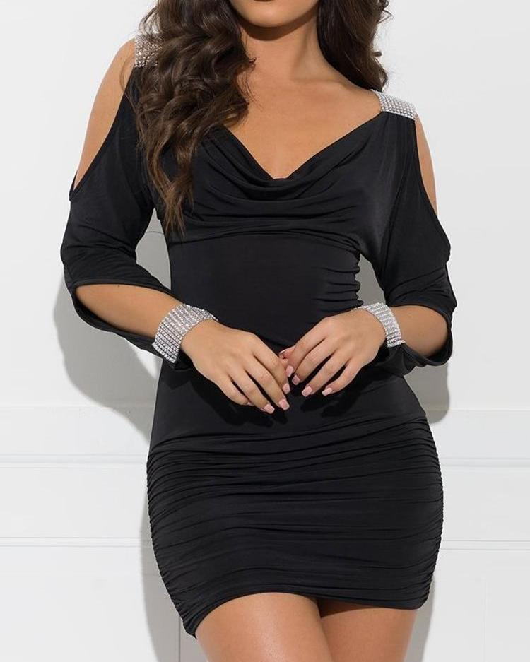 Studded Cutout Sleeve Ruched Bodycon Dress фото