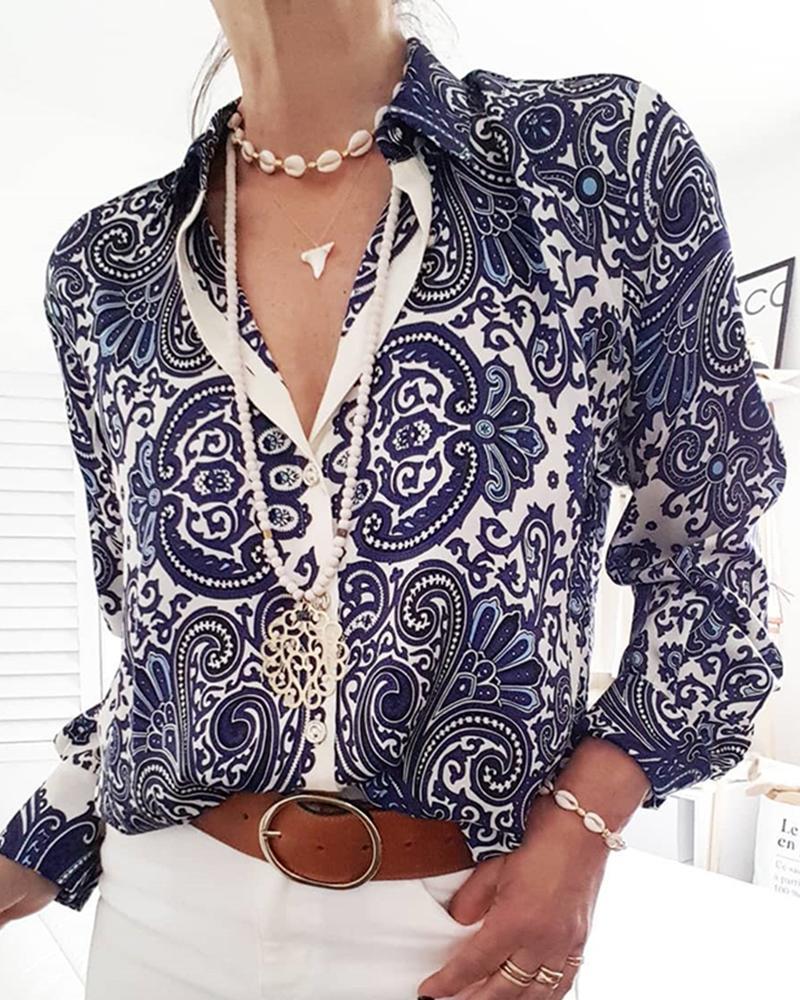ivrose / Camisa casual de manga larga con estampado paisley