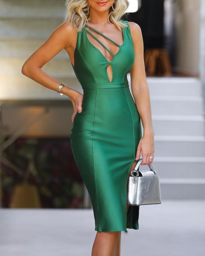 Solid Thin Strap Cut Out Bodycon Dress, Green