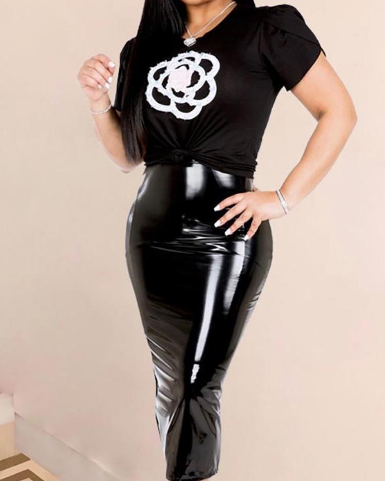 High Waist Zipper Back PU Slinky Skirt, Black