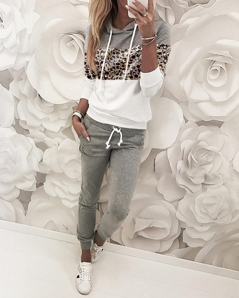 boutiquefeel / Estampa de leopardo com capuz e calças