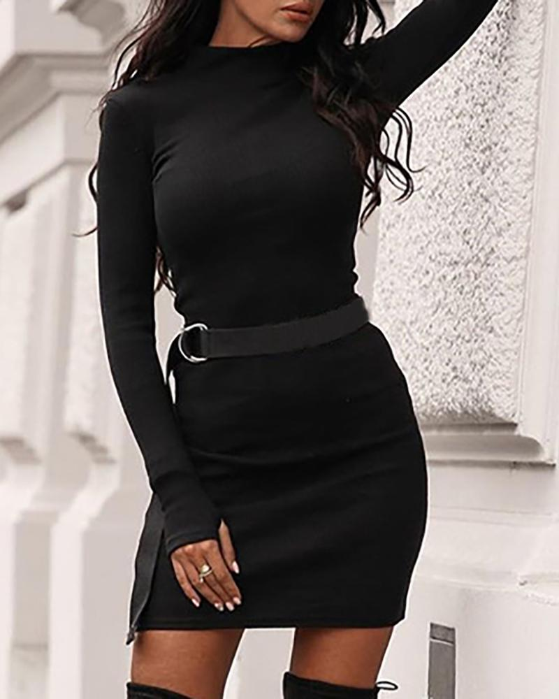 Solid Mock Neck Long Sleeve Bodycon Dress фото