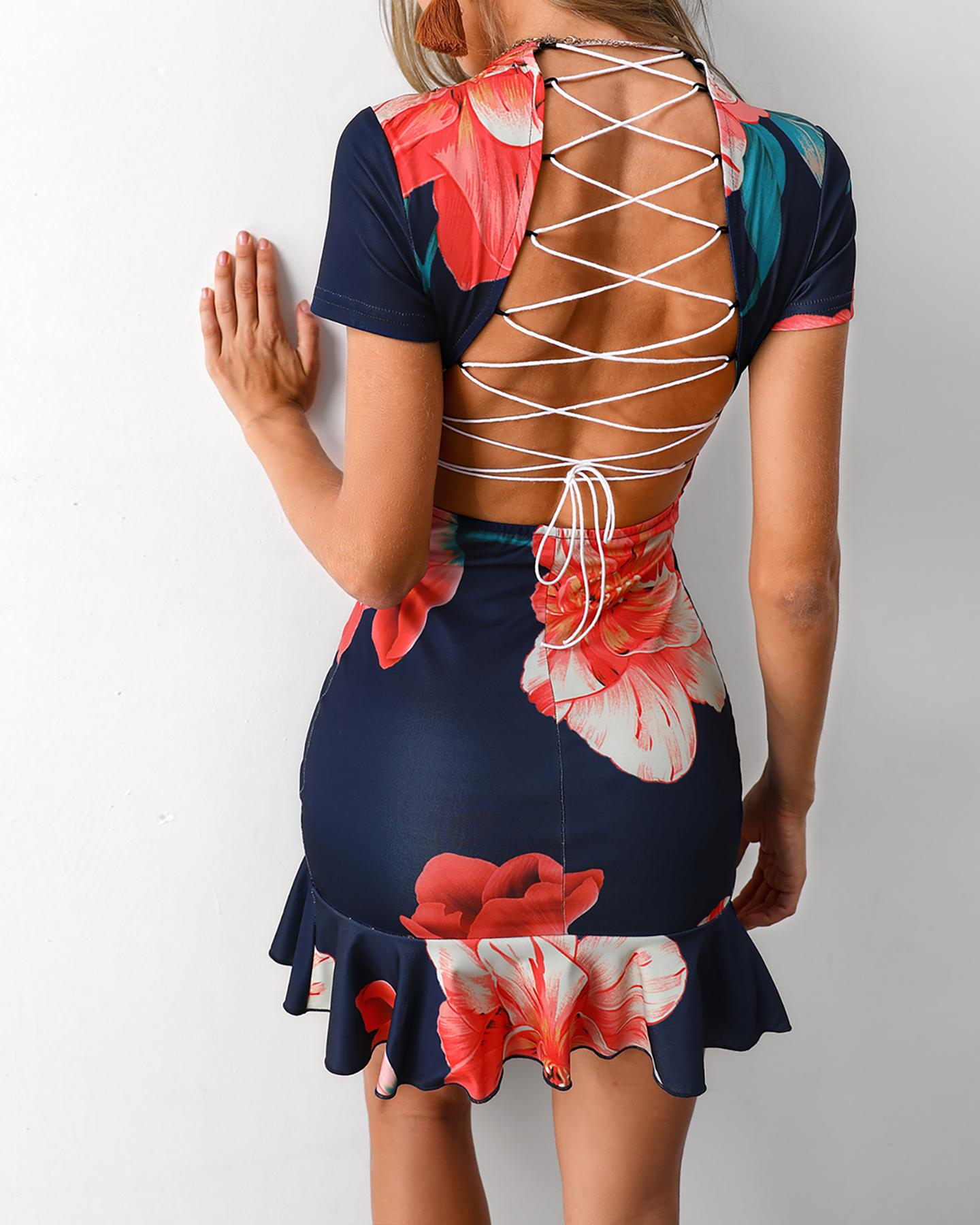 Floral Print Ruffles Lace-Up Back Bodycon Dress фото