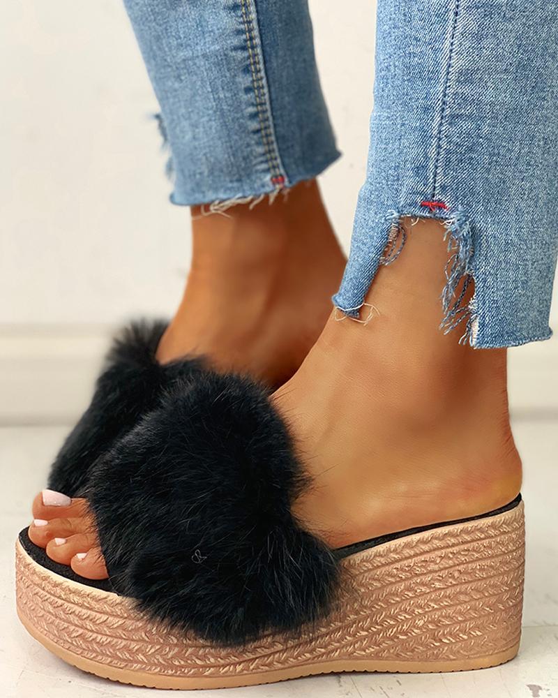 Fluffy Platform Wedge Heeled Sandals, Black