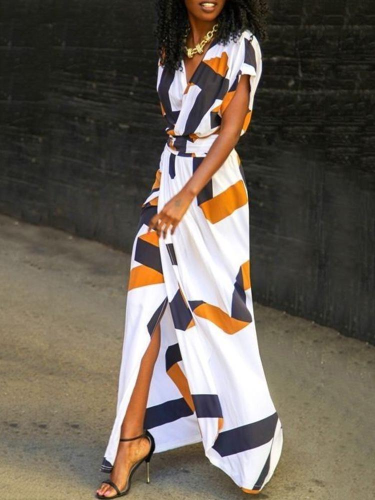 Contrast Color Digital Print Deep V Split Maxi Dress
