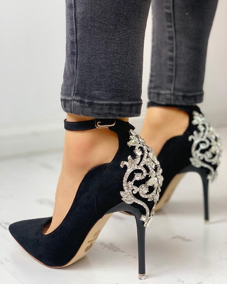 ivrose / Gem-Studded Pointed Toe Ankle Strap Heels