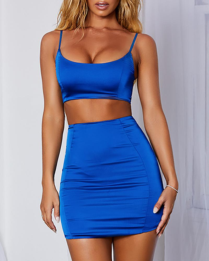 Solid Cami Top & Mini Bodycon Skirt Set, Blue