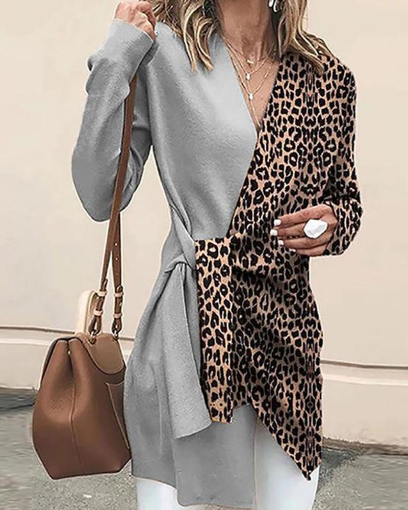 boutiquefeel / Contrast V Neck Leopard Tunic