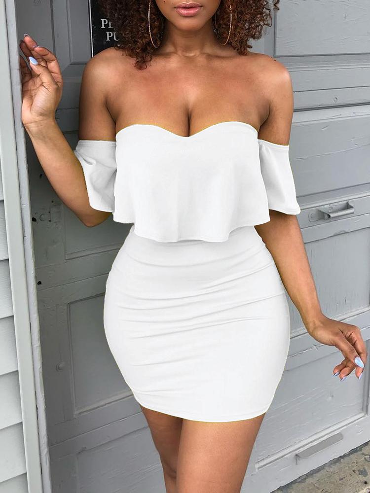 Solid Sweetheart Off Shoulder Mini Dress