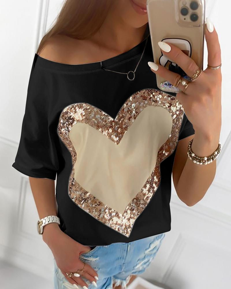 Heart Sequins Round Neck T-shirt фото