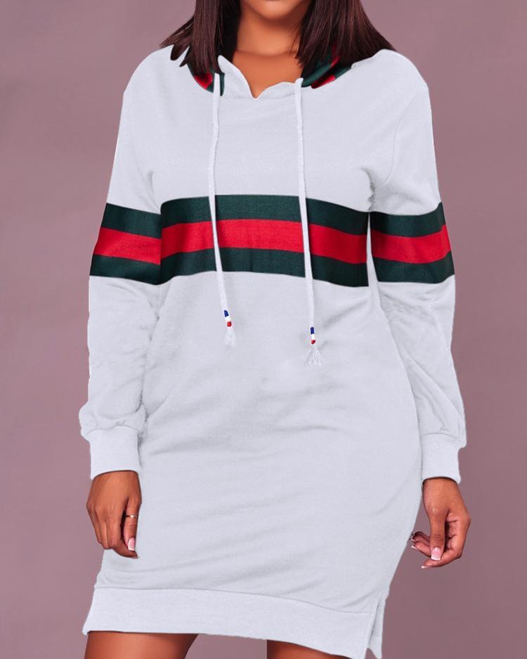 Contrast Wide Stripes Slit Hooded Sweatshirt Dress фото
