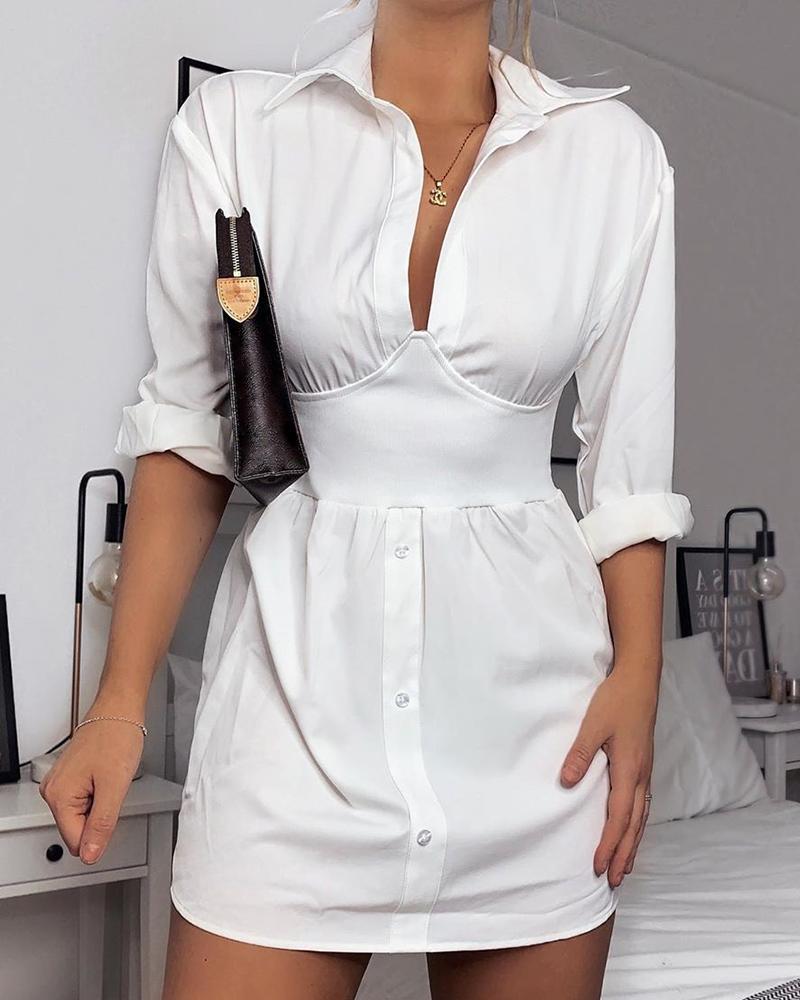 boutiquefeel / Vestido camisero de manga larga y cintura ajustada