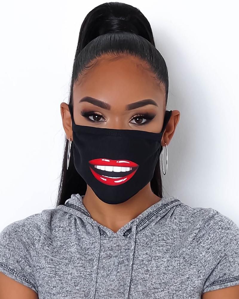 Lip Print Colorblock Breathable Mouth Mask фото