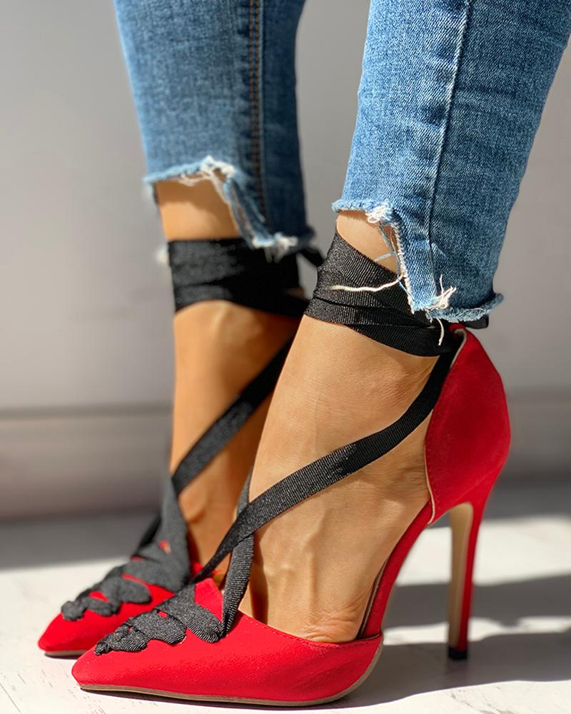 joyshoetique / Suede Lace-Up Ankle Thin Heels