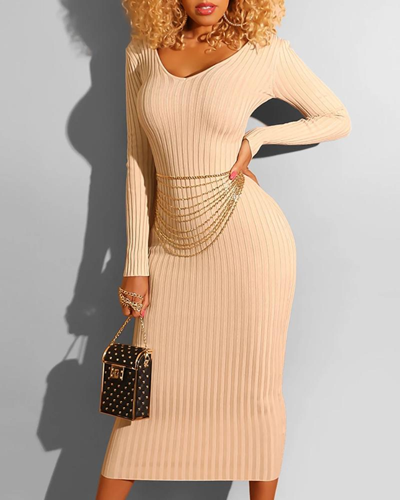 Solid Long Sleeve Ribbed Bodycon Dress фото